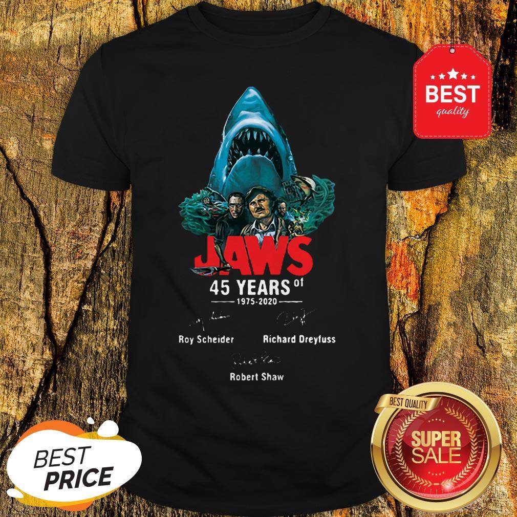 Jaws 45 Years Of 1975 2020 Signatures Roy Scheider Robert Shaw Shirt