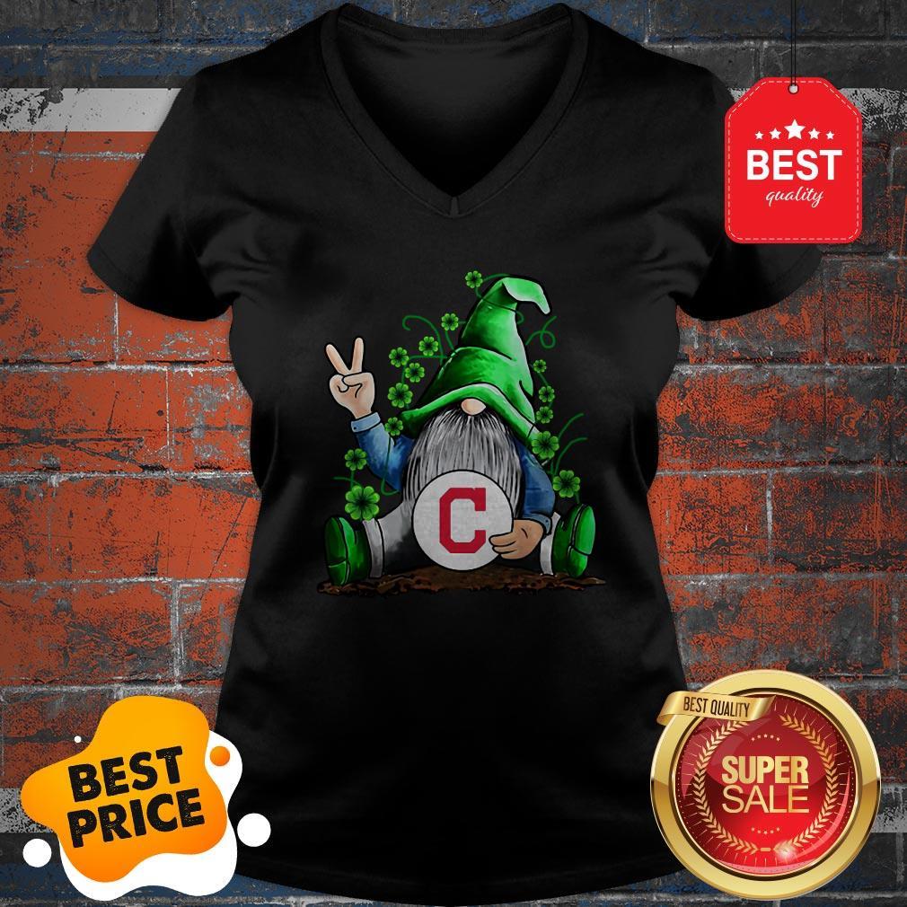 MLB Gnomes Lucky Hug Cleveland Indians Baseball V-neck