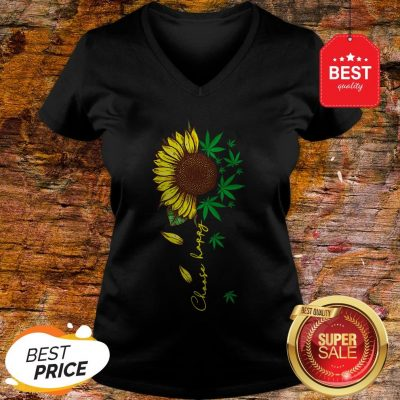 Nice Choose Happy Sunflower And Weed Cannabis V-neck