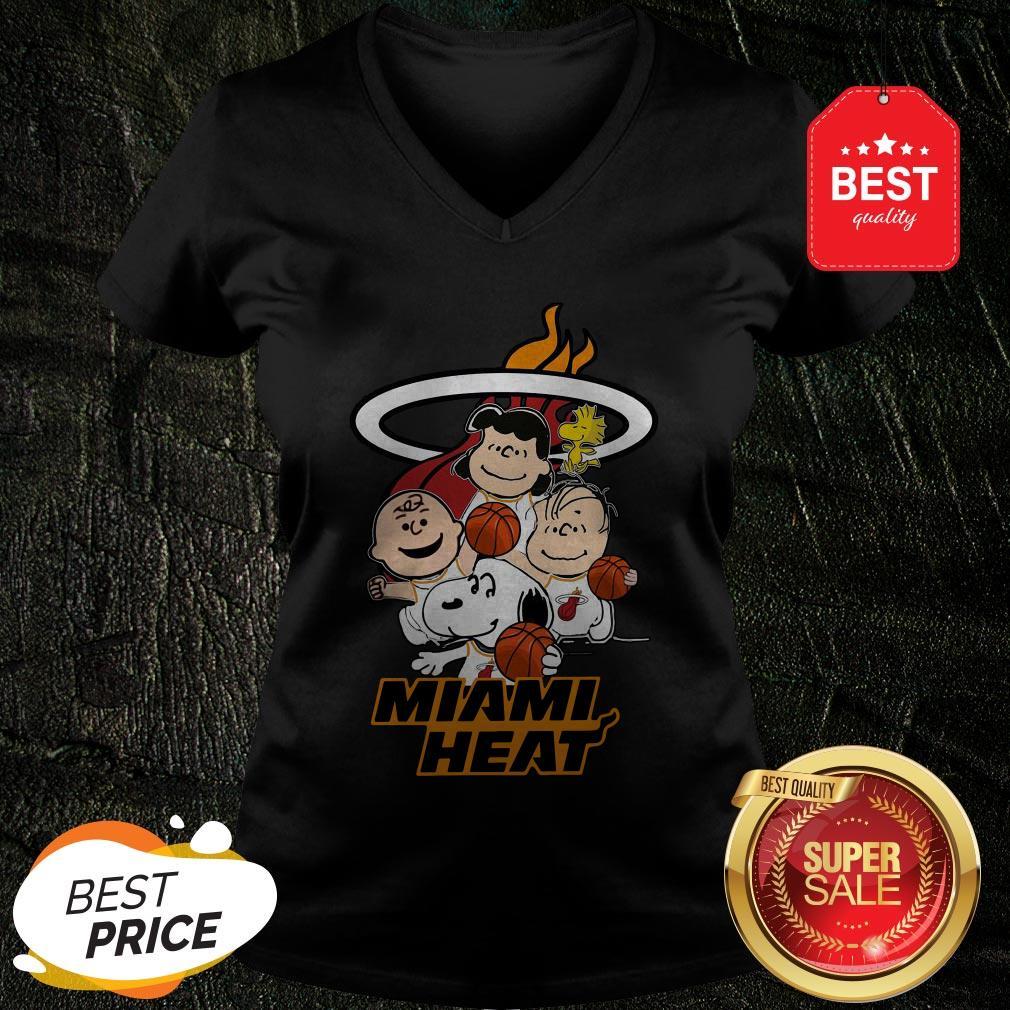 Nice Peanut Characters Mashup Miami Heat V-neck