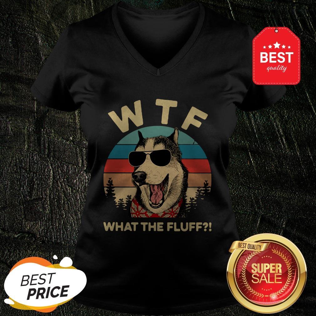 Official Husky Dog WTF What The Fluff Vintage V-neck