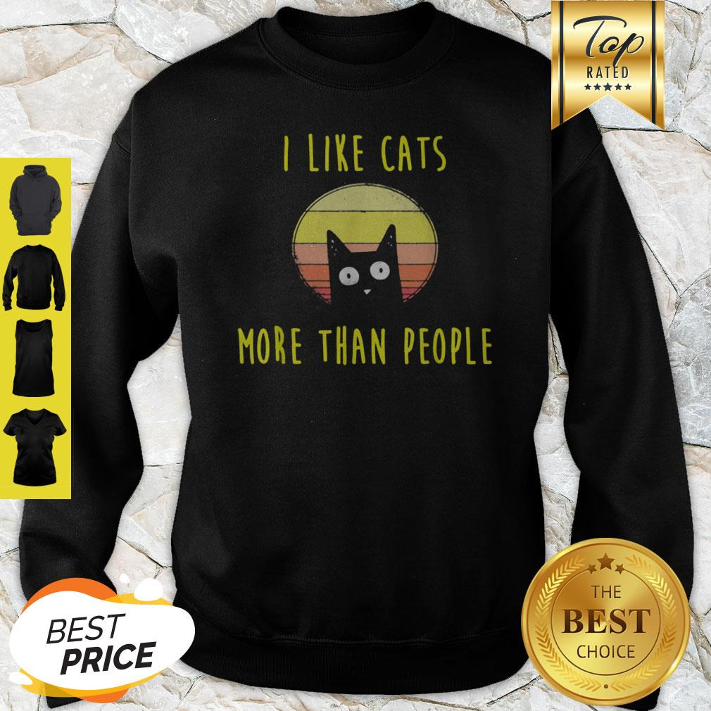 Official I Like Cats More Than People Cats Cat Mama Gift Sweatshirt