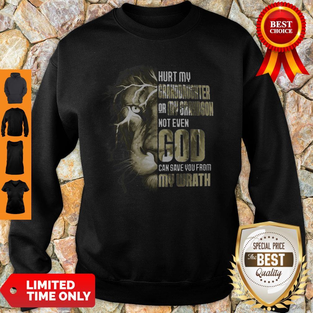 Top Lion Hurt My Granddaughter Or My Grandson Not Even God Sweatshirt