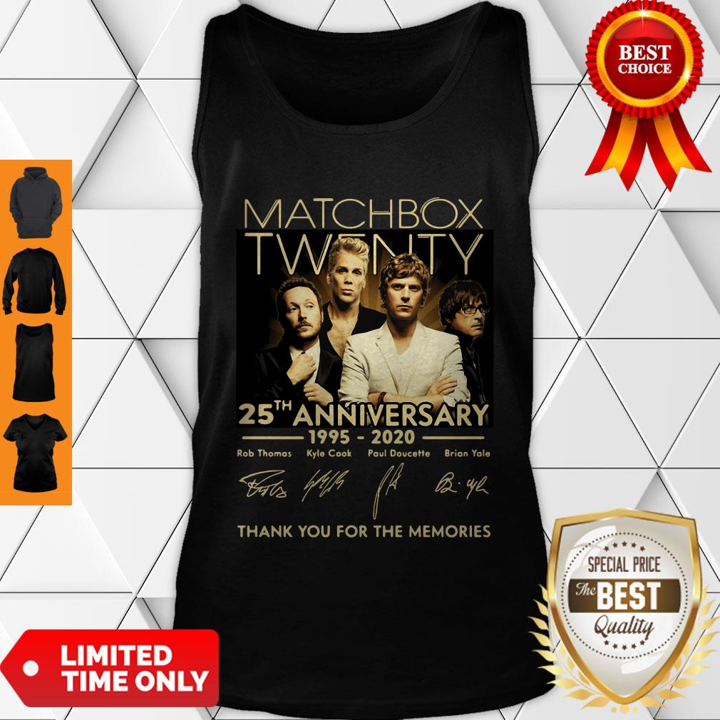Top Matchbox Twenty 25th Anniversary 1995-2020 Signatures Thank You For The Memories Tank Top