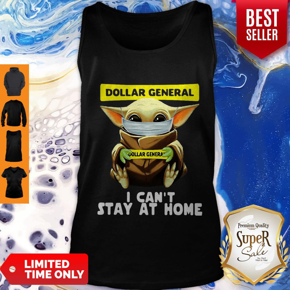 Top Star Wars Baby Yoda Face Mask Hug Dollar General I Can't Stay At Home Tank Top