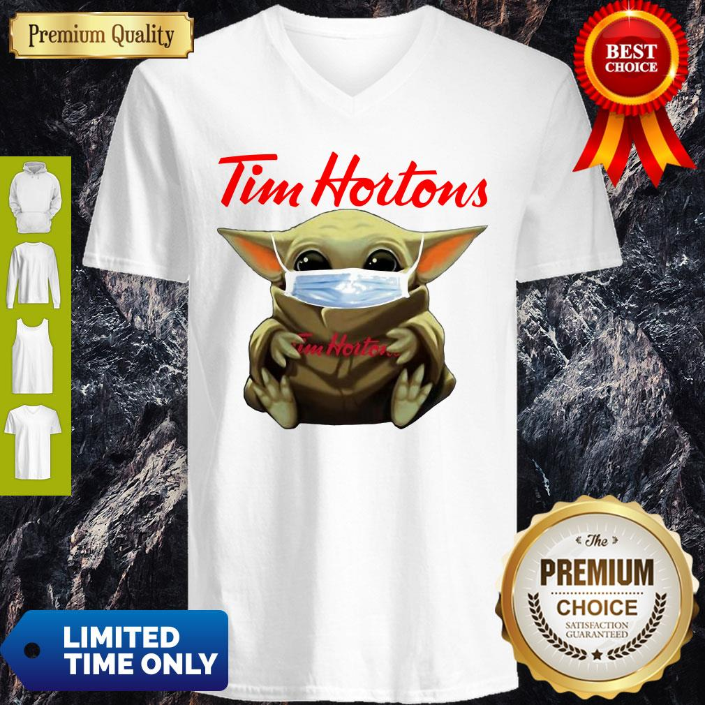 Nice Star Wars Baby Yoda Hug Tim Hortons Mask Covid-19 V-neck