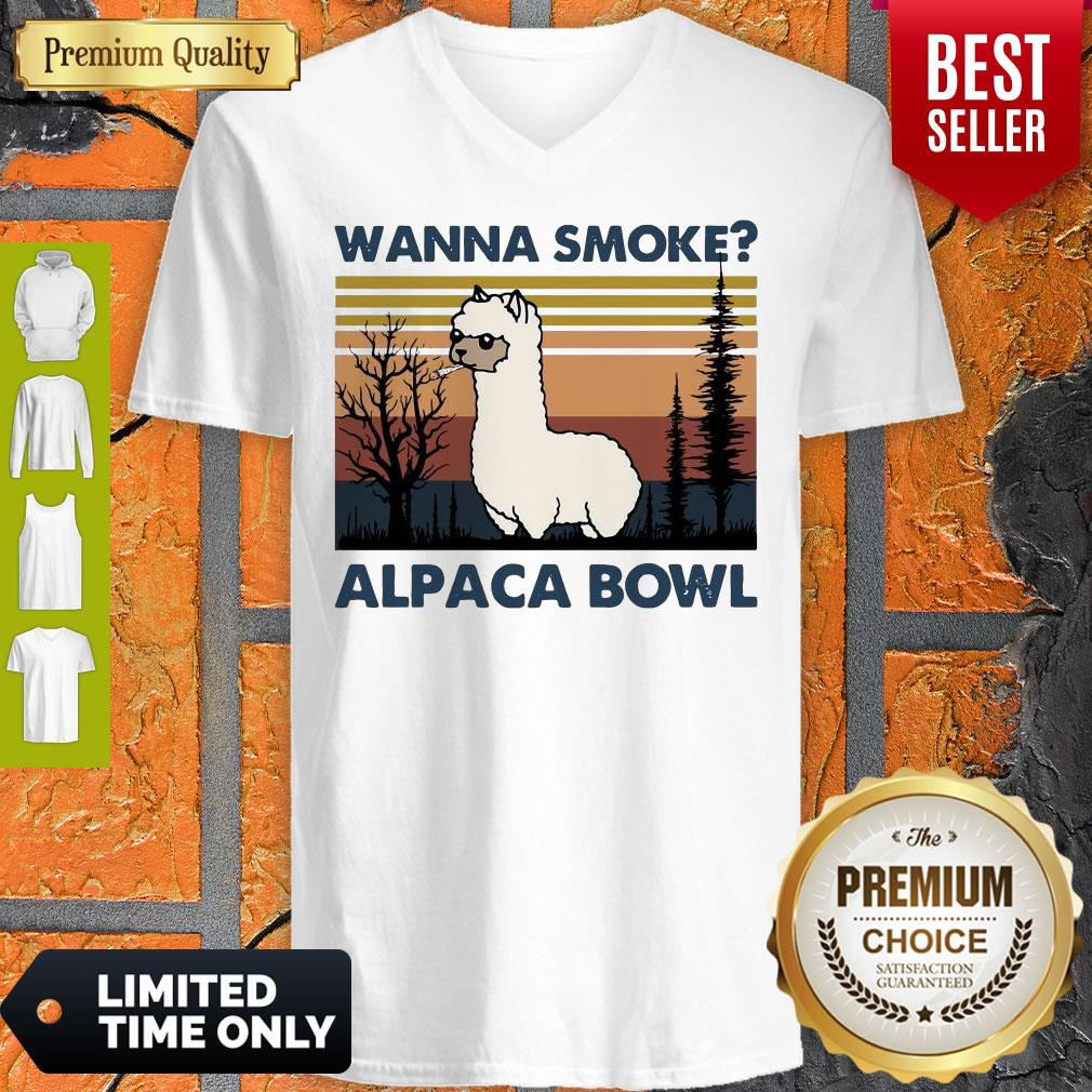 Top Llama Wanna Smoke Alpaca Bowl Vintage V-neck