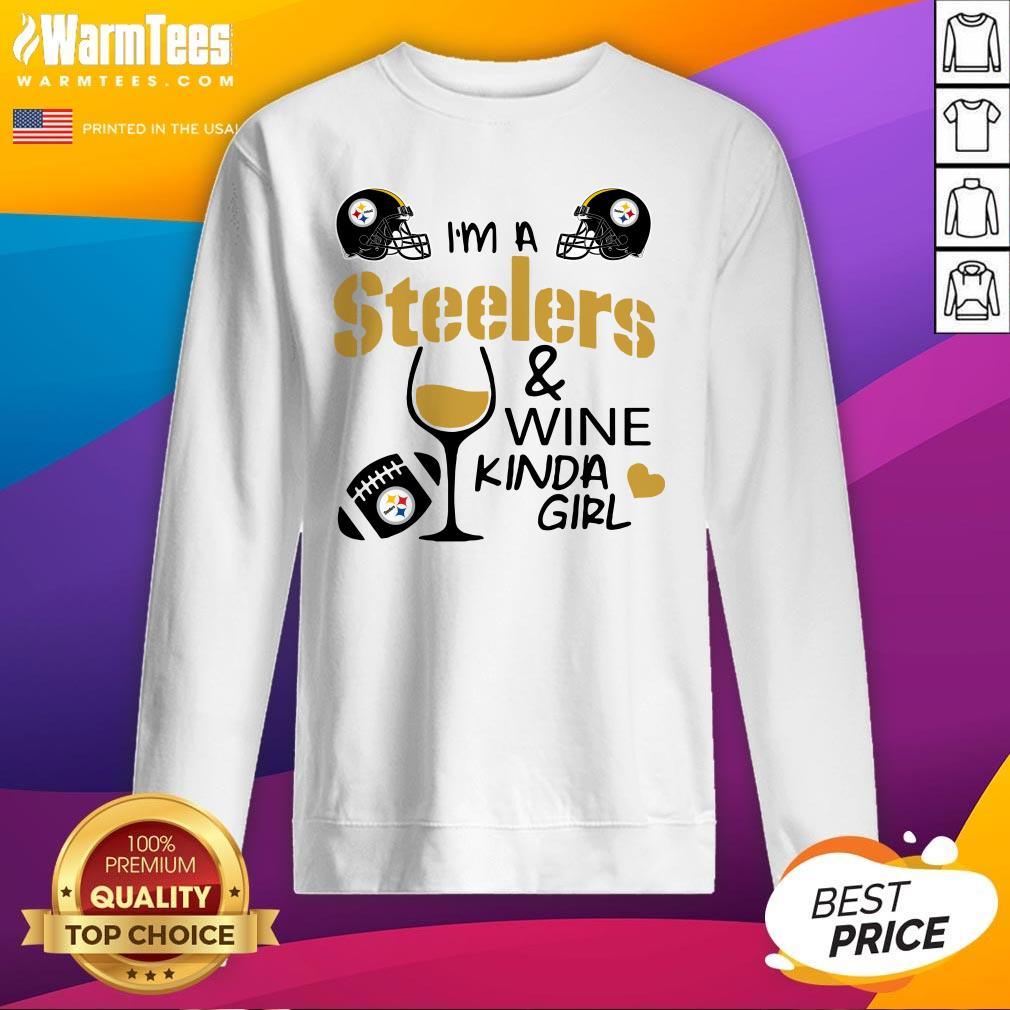 Attractive I'm A Pittsburgh Steelers And Wine Kinda Girl Heart Sweatshirt - Design By Warmtees.com