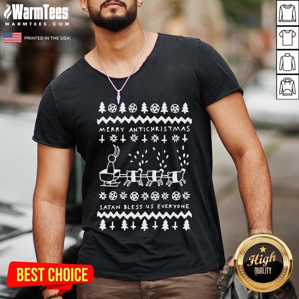 Beautiful Merry Antichristmas Satan Bless Us Everyone Hugleikur Dagsson V-neck - Design By Warmtees.com