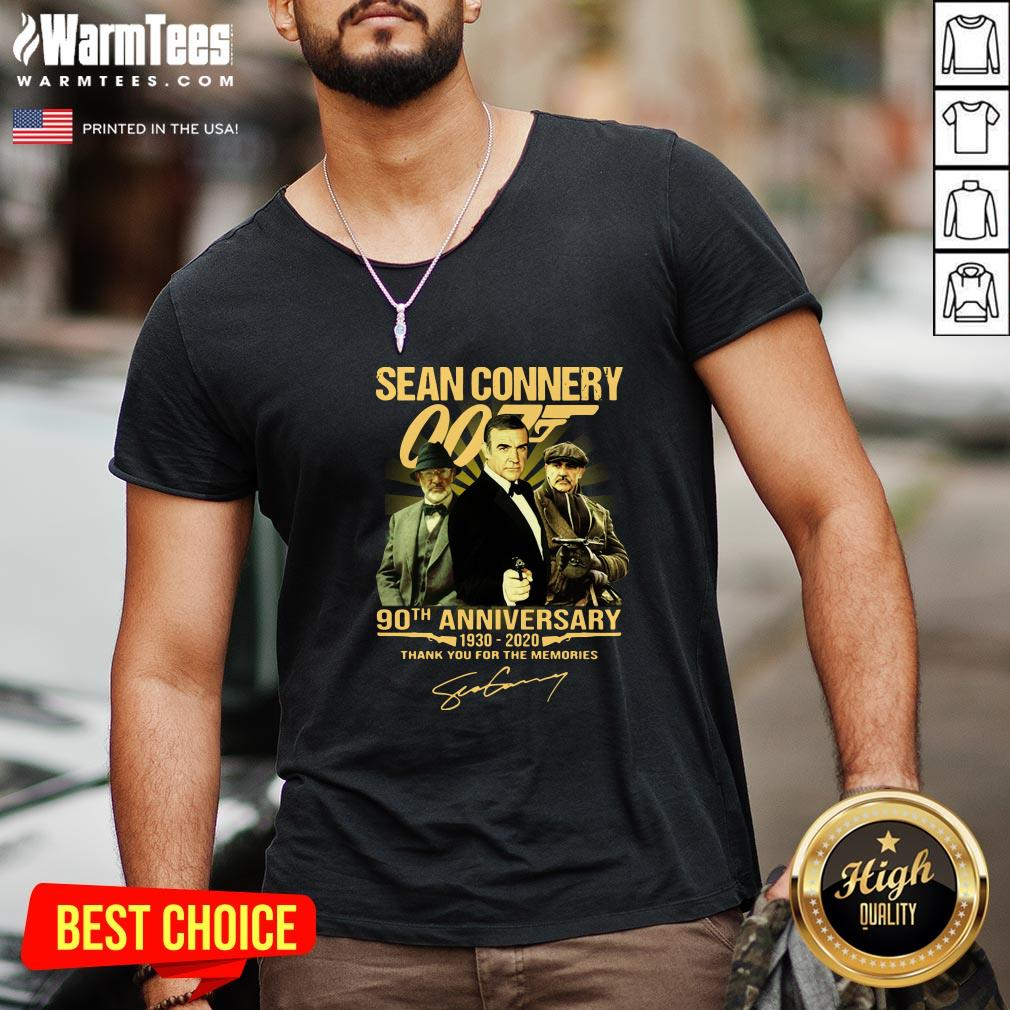 Cool Sean Connery 007 90th Anniversary 1930 2020 Thank You For The Memories Signature V-neck- Design By Warmtees.com