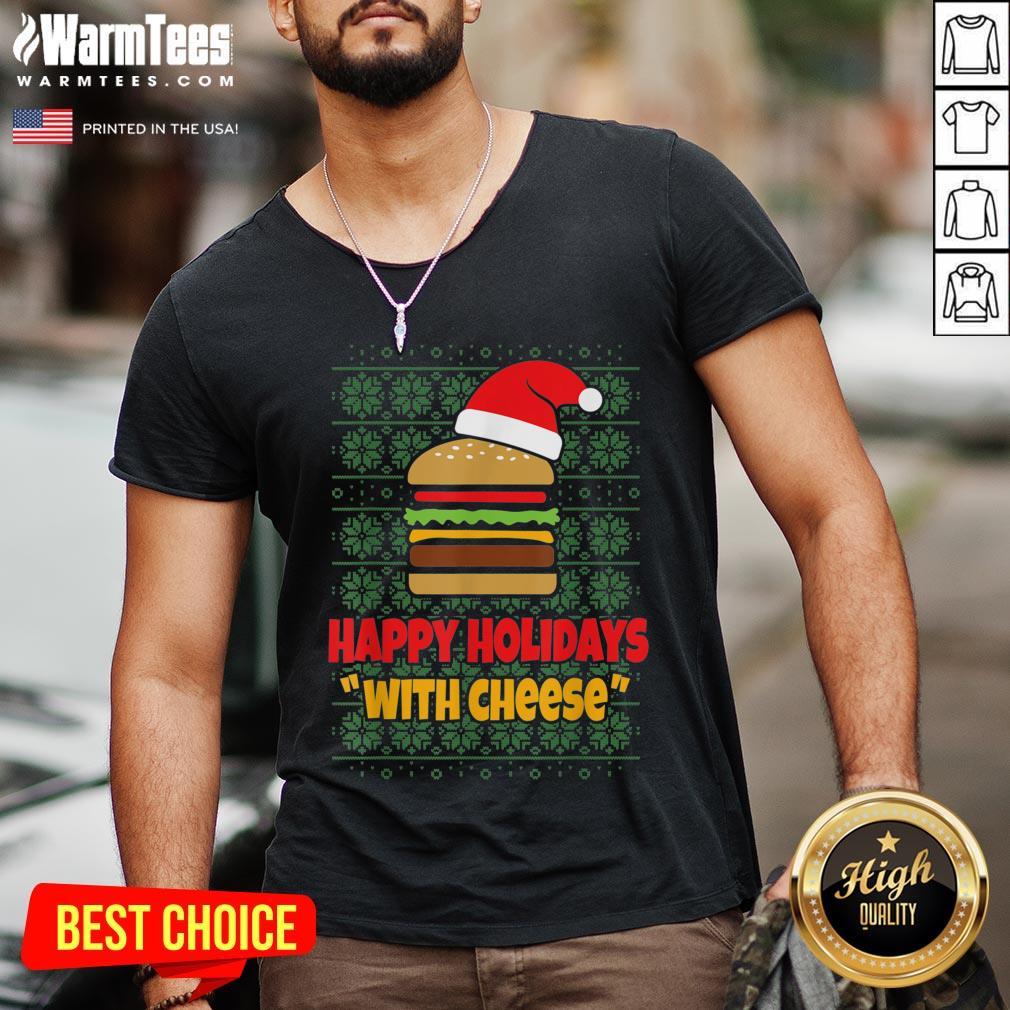 Good Holidays With Cheese Santa Burger V-neck - Design By Warmtees.com