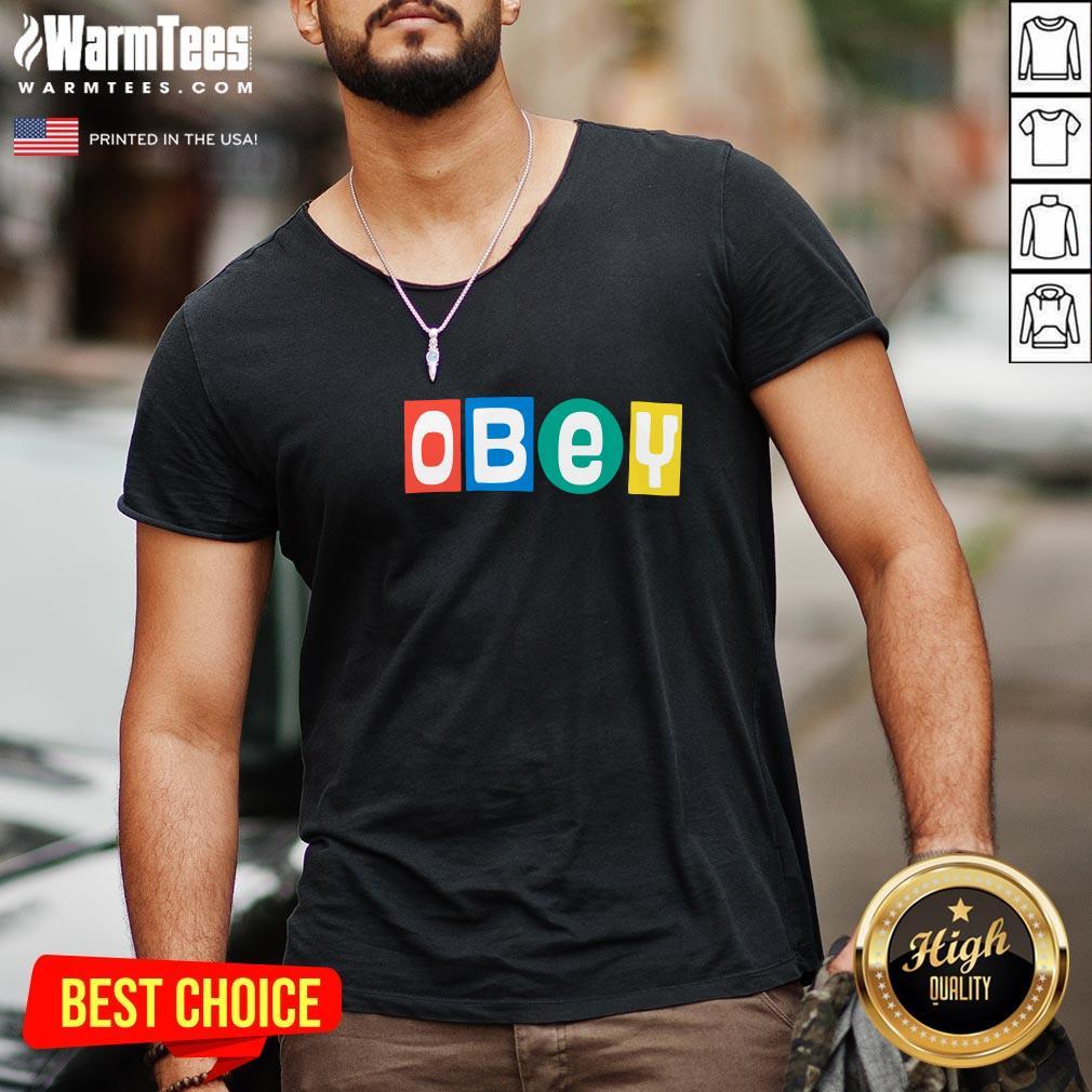 Nice Obey Big Shot V-neck - Design By Warmtees.com