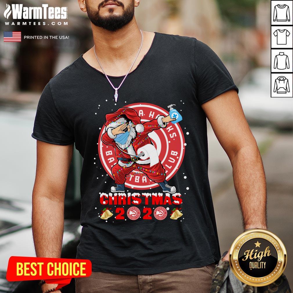 Pretty Atlanta Hawks Funny Santa Claus Dabbing Christmas 2020 V-neck - Design By Warmtees.com