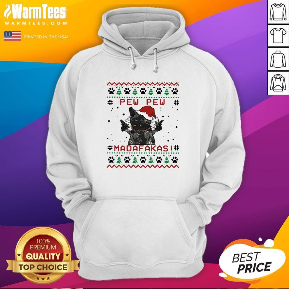 Pretty Santa Black Cat Pew Pew Madafakas Ugly Christmas Hoodie - Design By Warmtees.com