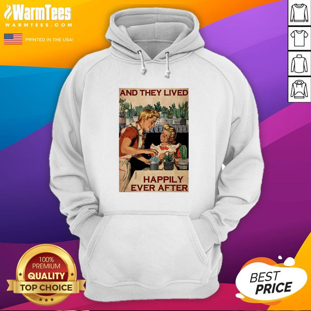 Pro Succulent Mom And Daughter And They Lived Happily Ever After Poster Hoodie - Design By Warmtees.com