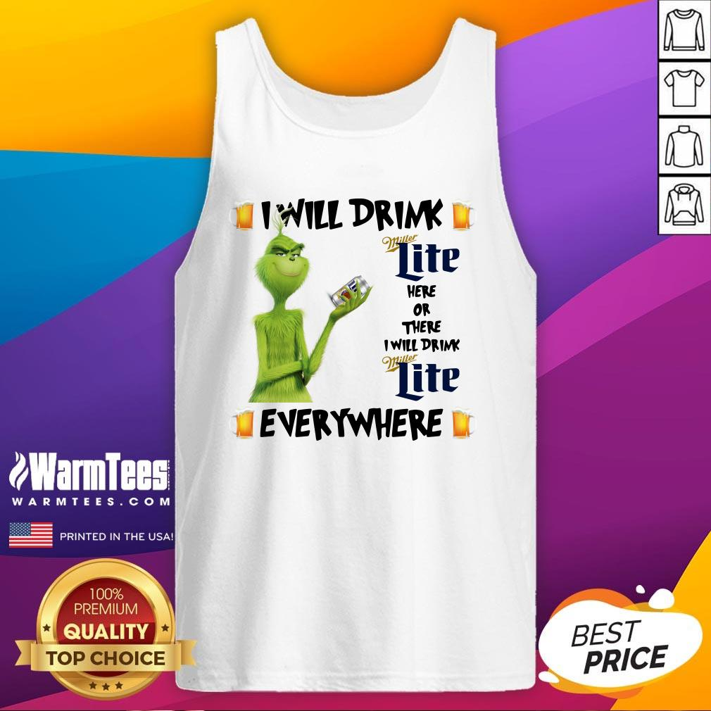 Top The Grinch I Will Drink Miller Lite Here And There Everywhere Christmas Sweat Tank Top - Design By Warmtees.com
