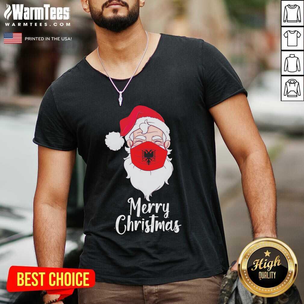 Santa Claus Face Mask Albania Flag Merry Christmas V-neck - Design By Warmtees.com