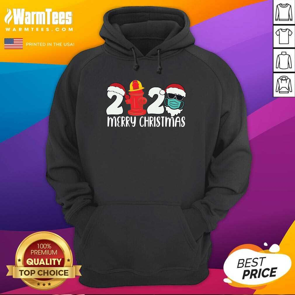 Santa Claus Face Mask And Fire Hydrant 2020 Merry Christmas Hoodie - Design By Warmtees.com
