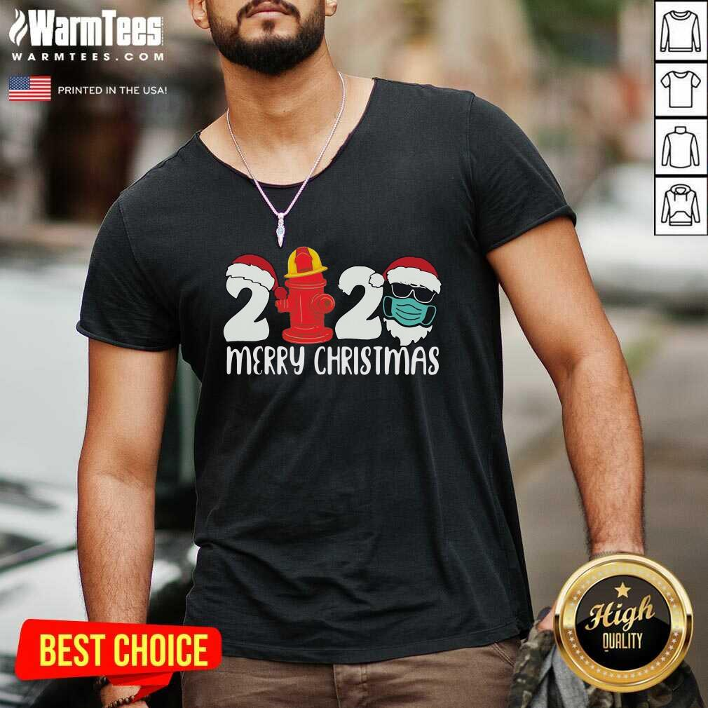 Santa Claus Face Mask And Fire Hydrant 2020 Merry Christmas V-neck - Design By Warmtees.com