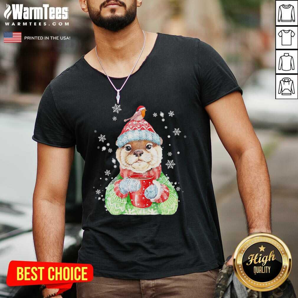 Sea Otter Merry Christmas V-neck - Design By Warmtees.com