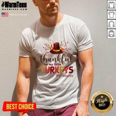 Thankful For My Little Turkeys Grammy Life Thanksgiving V-neck - Design By Warmtees.com