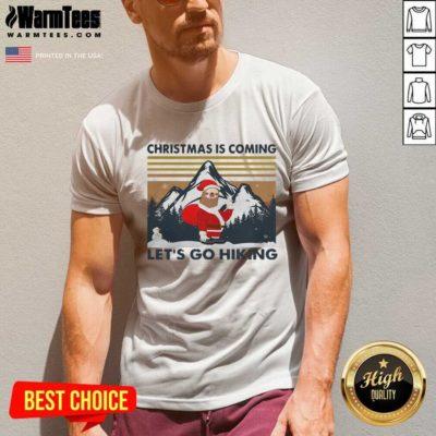 Sloth Hat Santa Christmas Is Coming Let's Go Hiking Vintage V-neck - Design By Warmtees.com