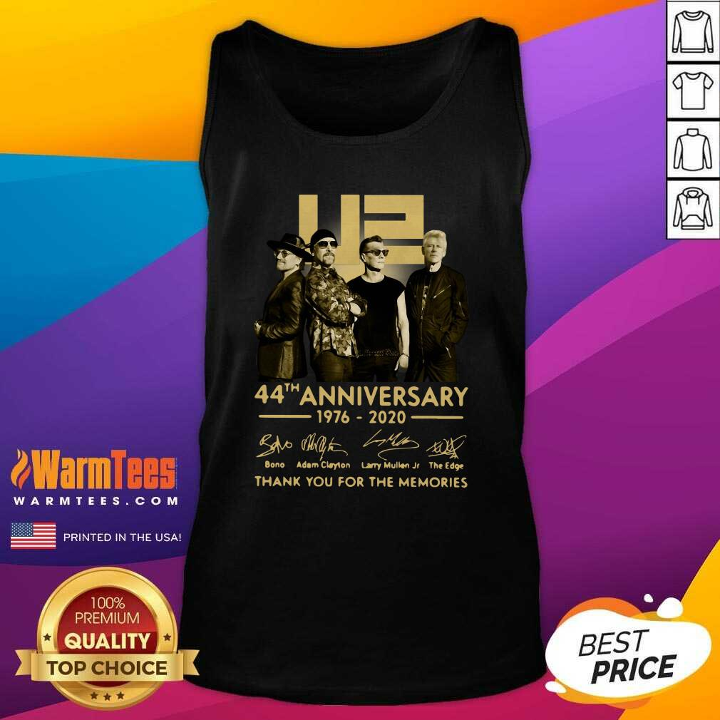 U2 45th Anniversary Thank You For The Memories Signatures Tank Top - Design By Warmtees.com
