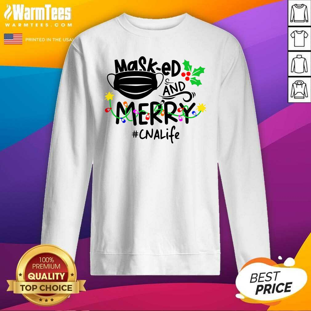 Mask-ed And Merry Christmas Cna Life SweatShirt - Design By Warmtees.com