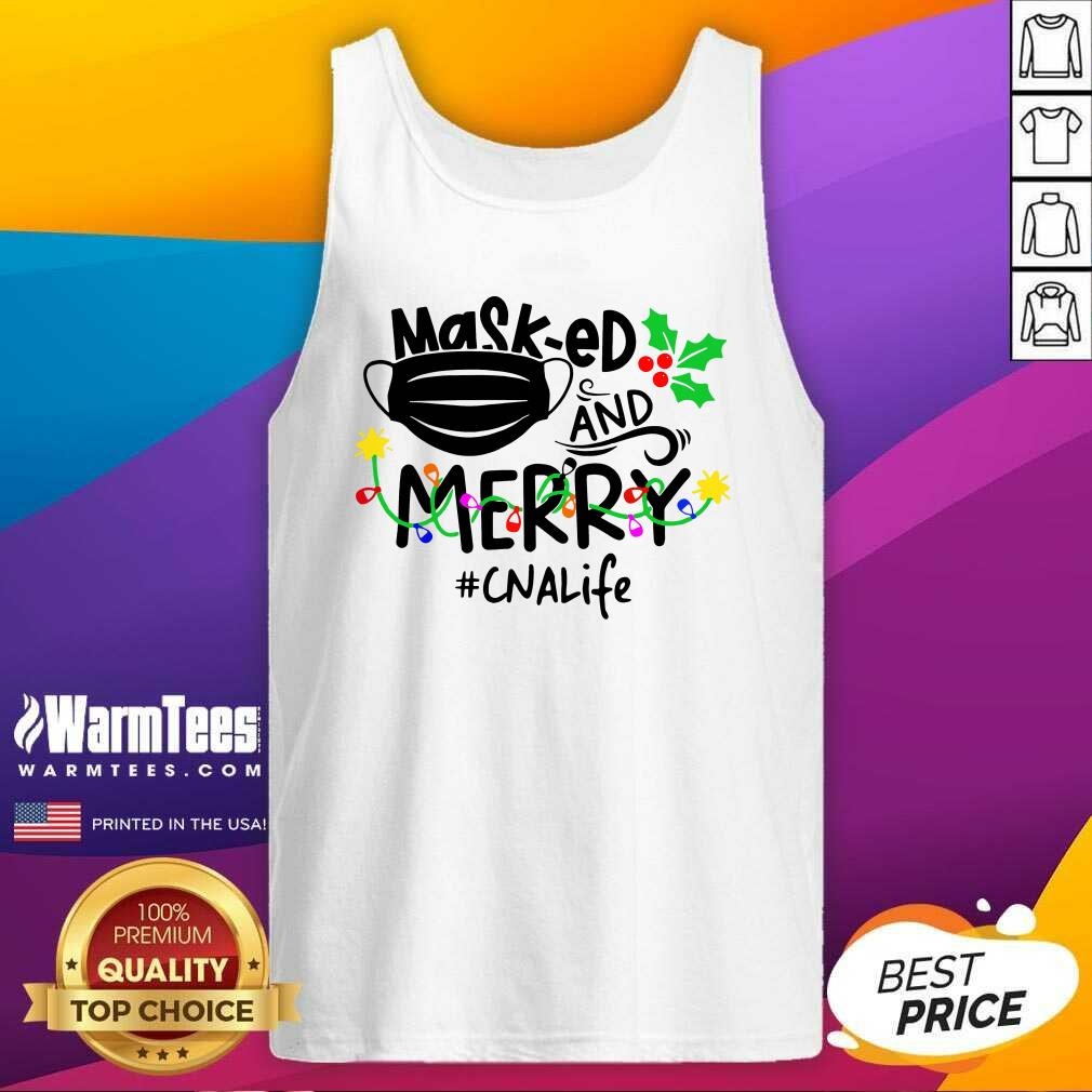 Mask-ed And Merry Christmas Cna Life Tank Top - Design By Warmtees.com