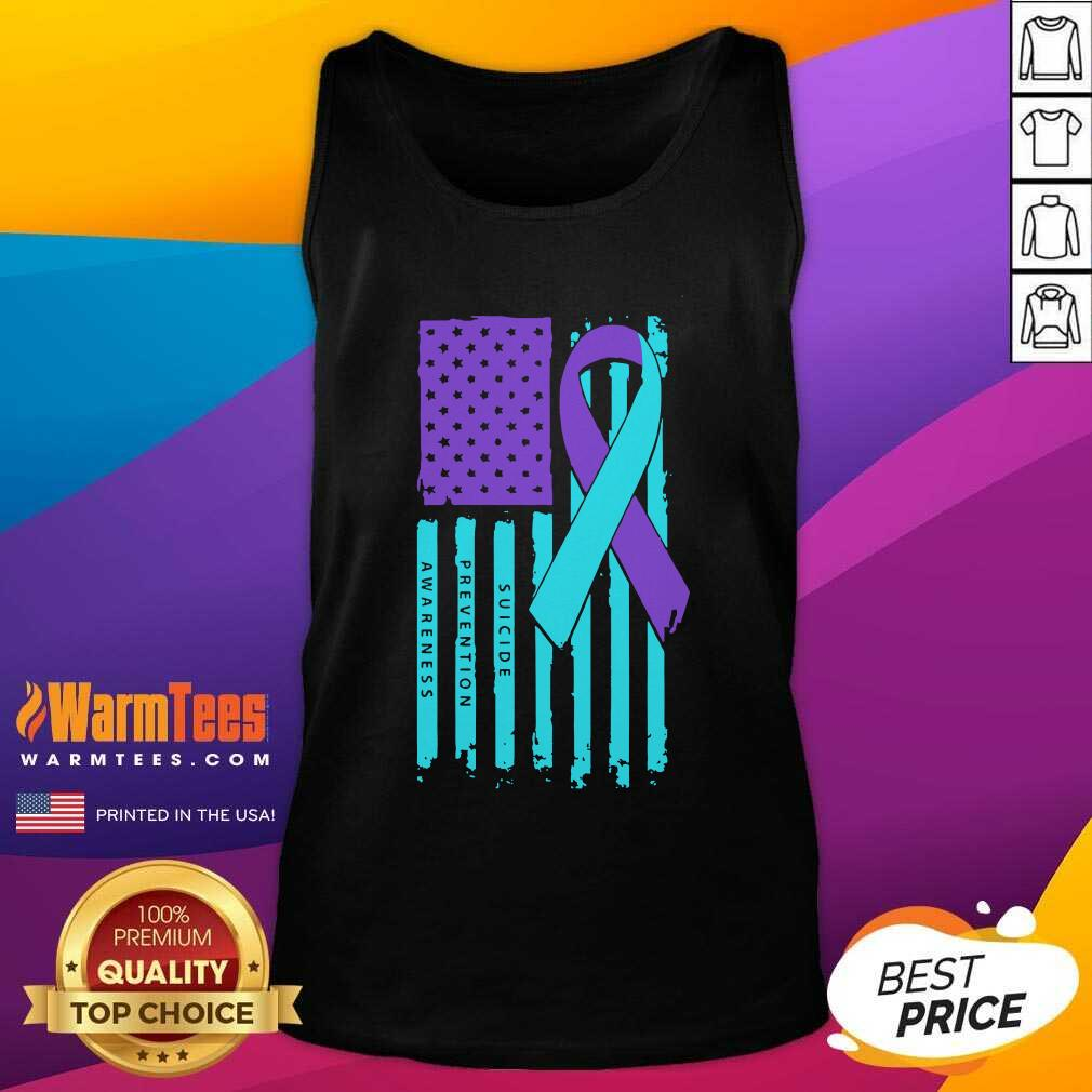 Teal And Purple Ribbon Flag Suicide Awareness Tank Top