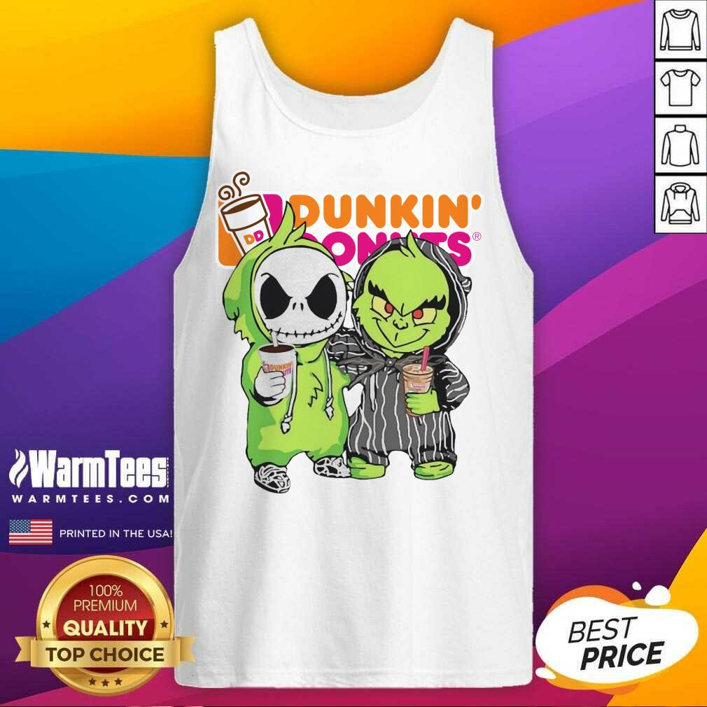 Baby Jack Skellington And Grinch Love Dunkin' Donuts Tank Top