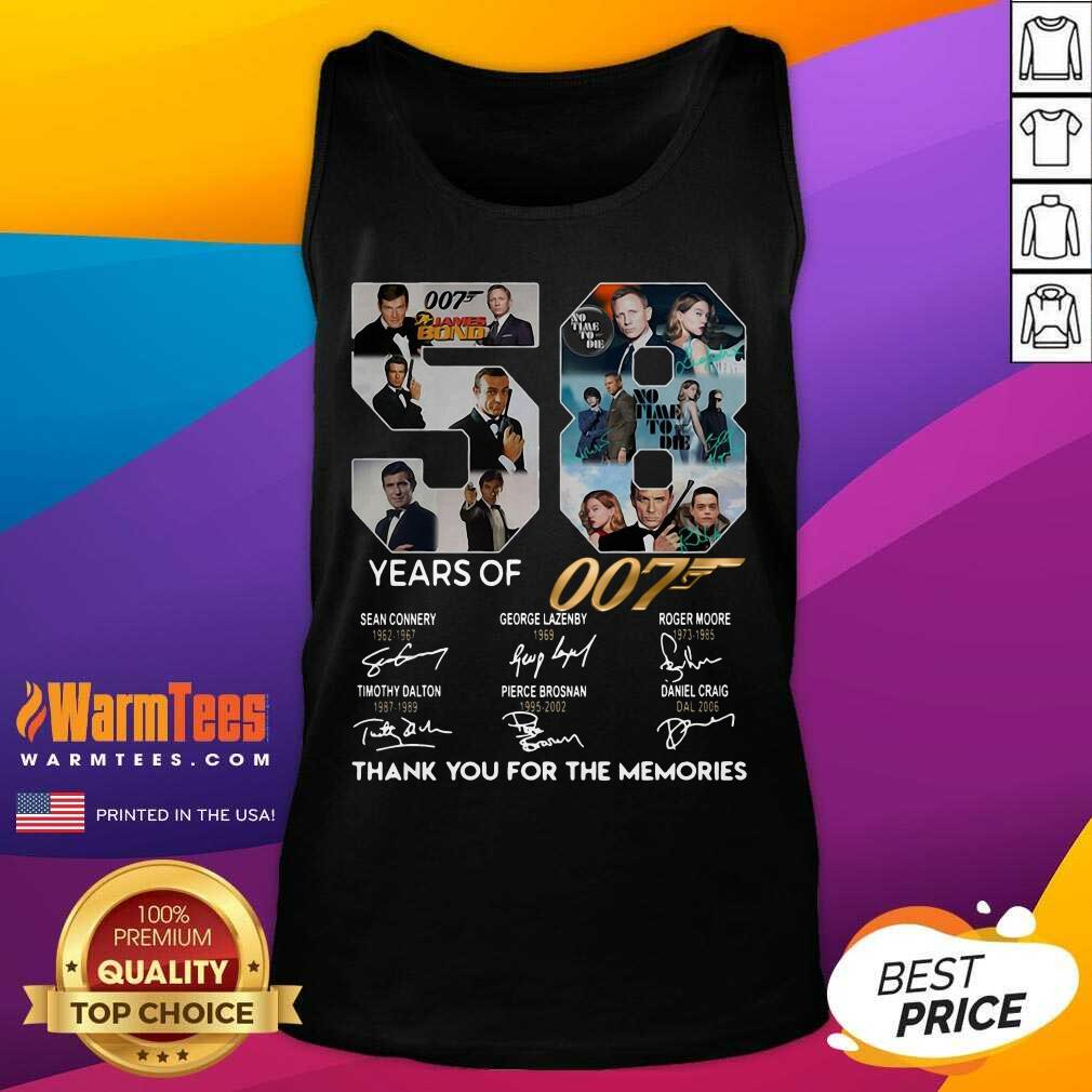 58 Years Of 007 Thank You For The Memories Signatures Tank Top