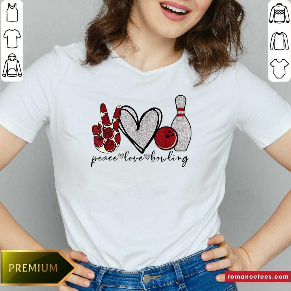 Peace Love Bowling Lover V-neck