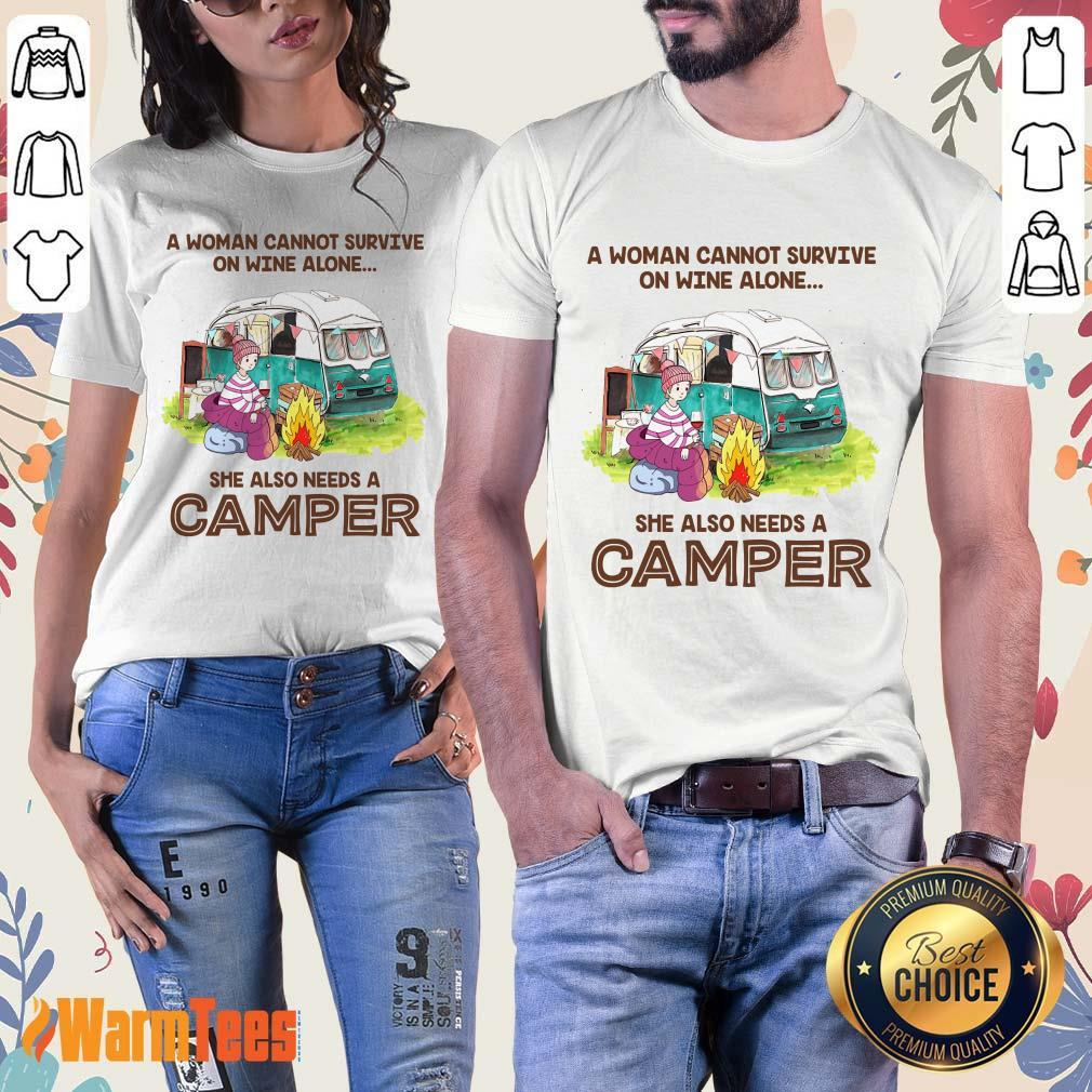 Wine Alone She Also Needs A Camper Ladies Tee