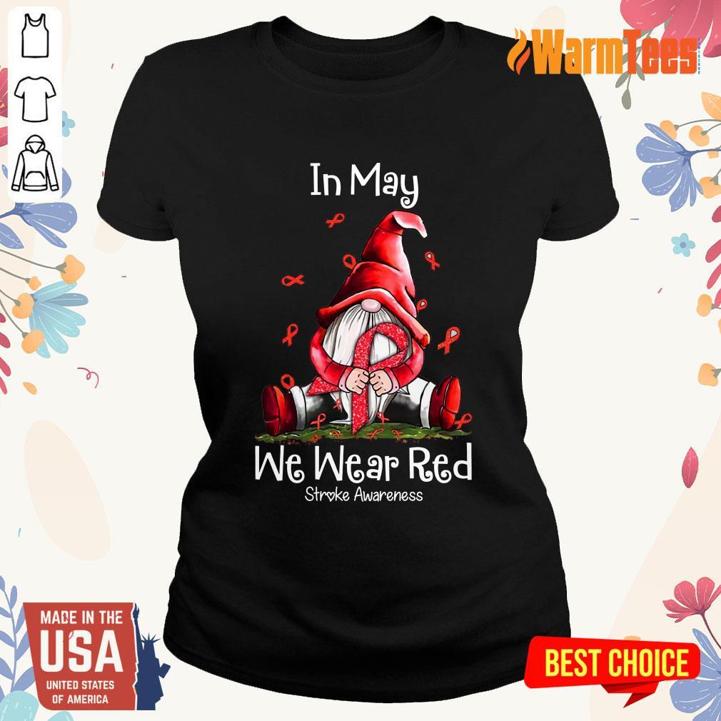 In May We Wear Red Stroke Awareness Ladies Tee