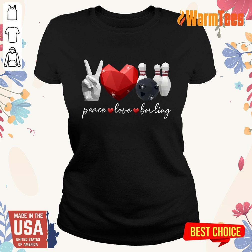 Peace Love Bowling Ladies Tee