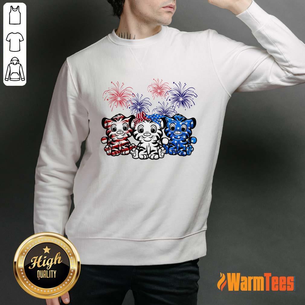 Tiger American Flag Firework Sweater