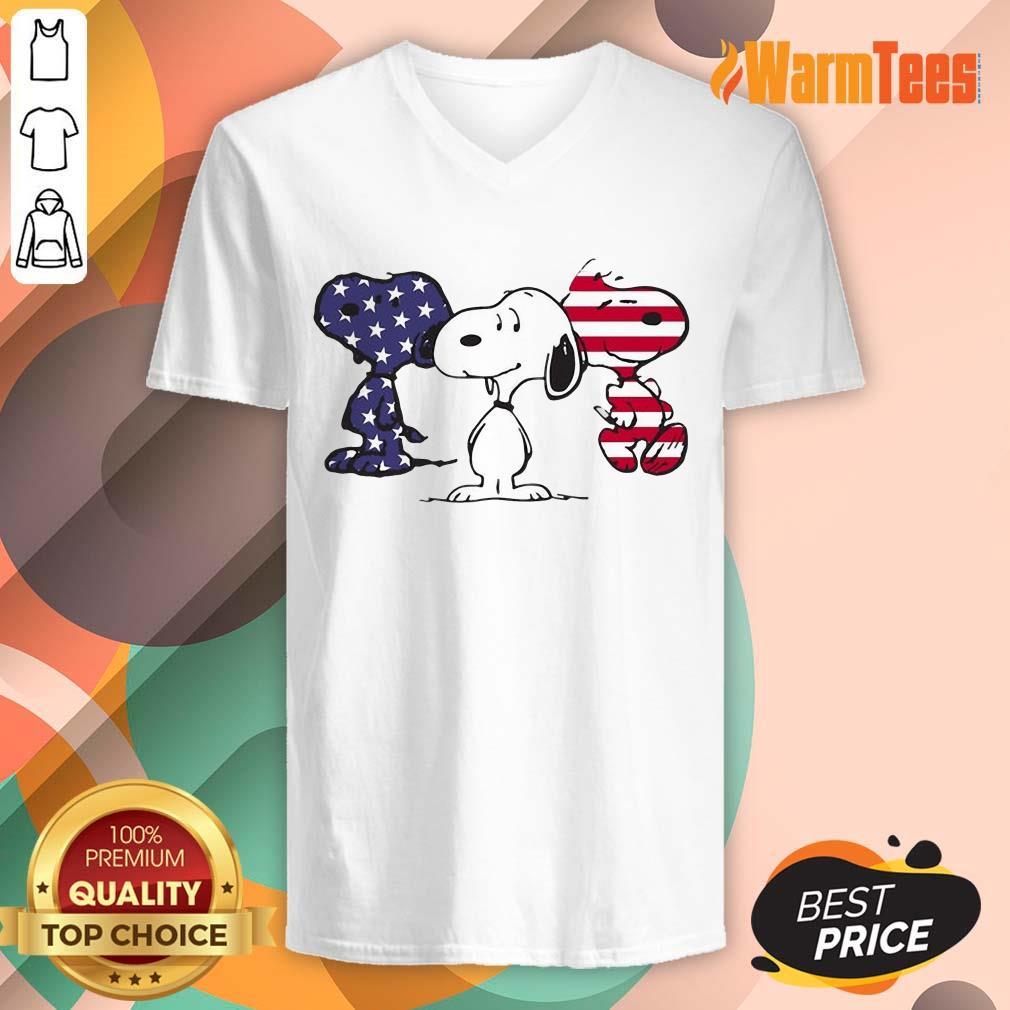 Snoopy American Flag V-neck