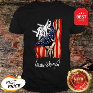 Nice Elephant Trump American Flag Signature Shirt