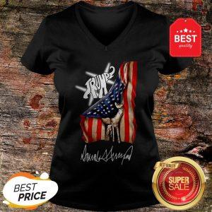 Nice Elephant Trump American Flag Signature V-neck