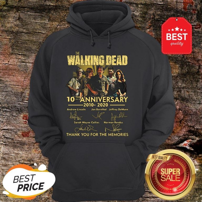 Nice The Walking Dead 10th Anniversary 2010 2020 Signatures Thank You For The Memories Hoodie