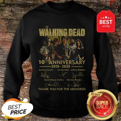 Nice The Walking Dead 10th Anniversary 2010 2020 Signatures Thank You For The Memories Sweatshirt