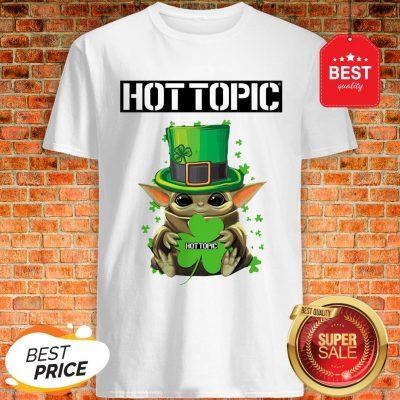 Baby Yoda Hug Hottopic Shamrock St Patrick's Day Star Wars Shirt