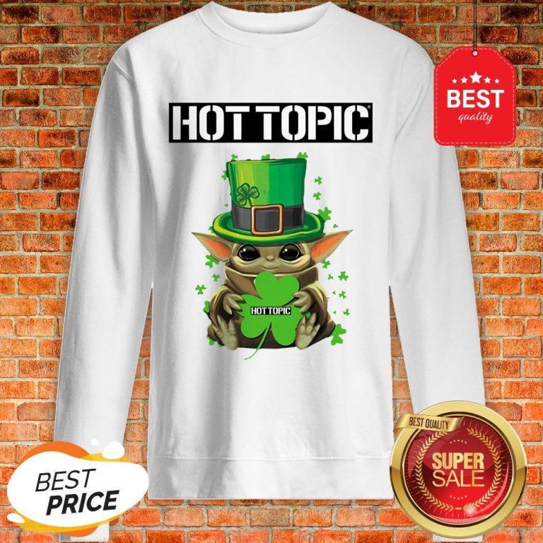Baby Yoda Hug Hottopic Shamrock St Patrick's Day Star Wars Sweatshirt