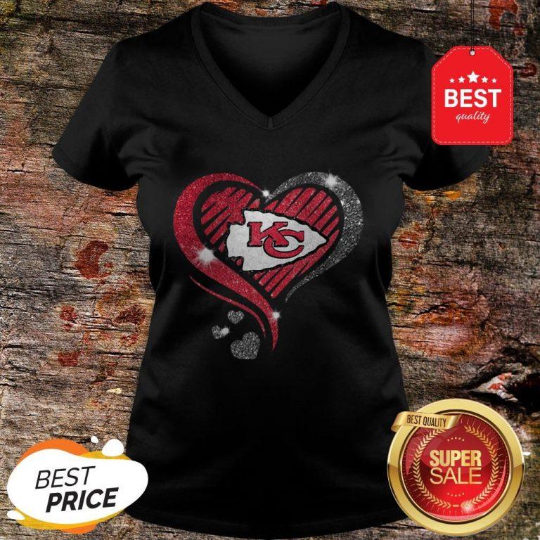 Diamond Heart Love Kansas City Chiefs Super Bowl Champions V-neck