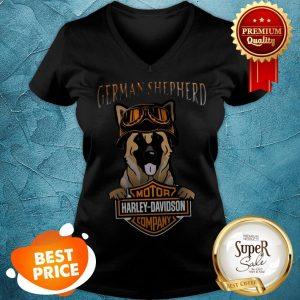 German Shepherd Mashup Motor Harley Davidson Company V-neck