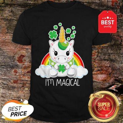 Girls Cute Unicorn I'm Magical Gift For St Patricks Day Shirt