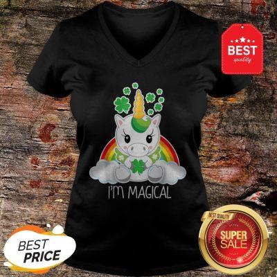 Girls Cute Unicorn I'm Magical Gift For St Patricks Day V-neck
