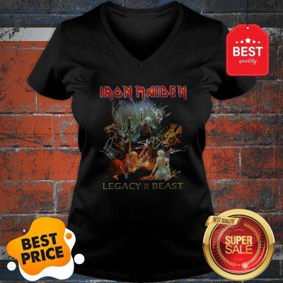 Iron Maiden Mashup Legacy Of The Beast Signatures V-neck