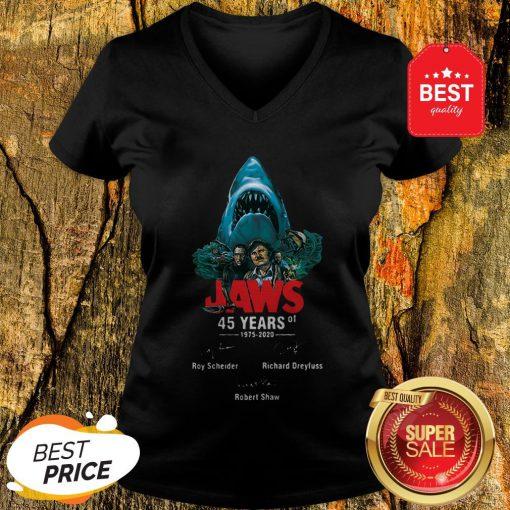 Jaws 45 Years Of 1975 2020 Signatures Roy Scheider Robert Shaw V-neck